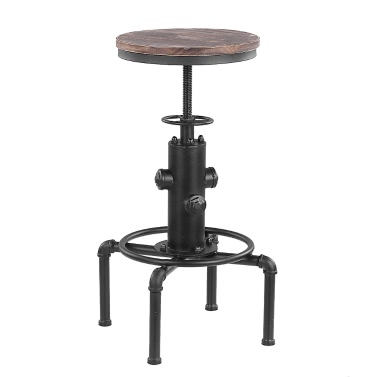 iKayaa Metal Industrial Bar Stool Height Adjustable Swivel Pinewood Top Kitchen Dining Chair Pipe Style Barstool W/ Footrest