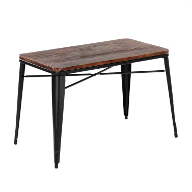iKayaa Antique Natural Pinewood Kitchen Dining Table W/ Metal Frame Rectangular Dinette Table Furniture