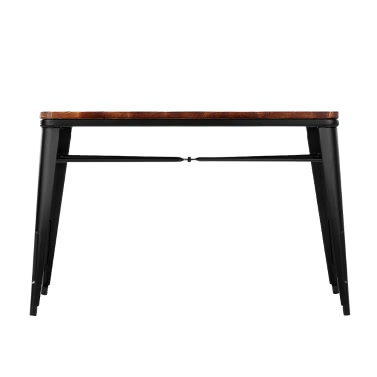 iKayaa Antique Natural Pinewood Kitchen Dining Table W/ Metal Frame Rectangular Dinette Table Furniture