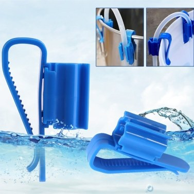 2pcs Multi-functional Hose Holder Blue Plastic Adjustable Fish Tank Aquarium Filtration Bucket Mounting Clip for 8-16mm Water Pipe/Tube