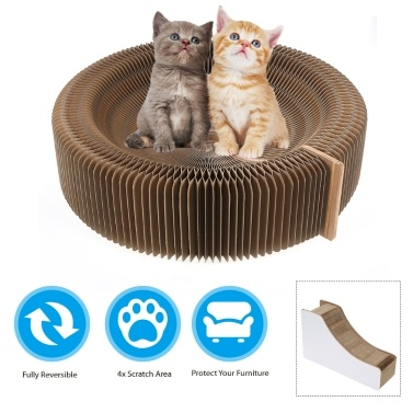 Cat Scratching Board Scratcher Karton Atmungsaktives Katzenbett mit Ballspielzeug