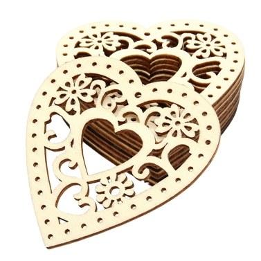 10 Stücke Herzförmige Holzscheiben mit Löchern Holz Handwerk Dekoration Zubehör