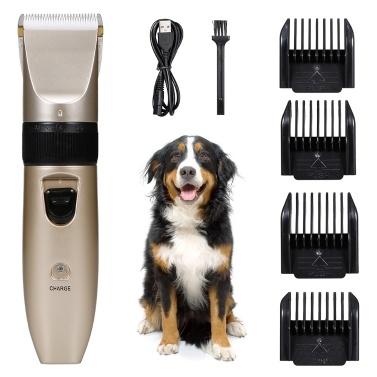 Haustiere Dog Cat Electric Clipper Hundepflege-Kit Hundetrimmer für kleine Hunde Katzen USB Wiederaufladbarer geräuscharmer, leistungsstarker Motor