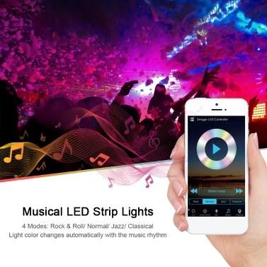 Wi-Fi RGB LED-Streifenleuchten Wasserdichte 16,4 Fuß 150 LEDs mit IR-Fernbedienung und Wi-Fi-Controller Smart APP & Sprachsteuerung & Timer Farbwechsel 5050 LED-Leuchten für Raumdeckenpartys (DC 12V / 3A)