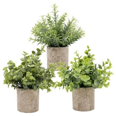 3 unidades de plantas artificiais em vasos com folhas de grama verde falsas e conjuntos de plantas de simulação artificiais