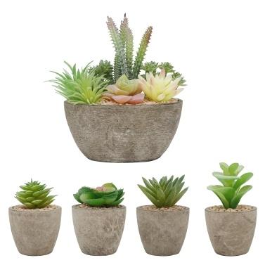 Conjunto de plantas de simulação artificial com 5 pacotes de vasos de plantas suculentas falsas Suculentas fluidas