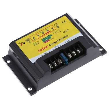 Anself 10A 12/24V Automatic Intelligent Solar Charge Controller PWM Charging Panel Battery Regulator Temperature Compensation