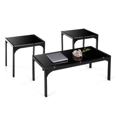 iKayaa moderne und stilvolle Metallrahmen Kaffeetisch mit 2 End Beistelltisch Wohnzimmer Cocktail-Tisch-Set Home Furniture