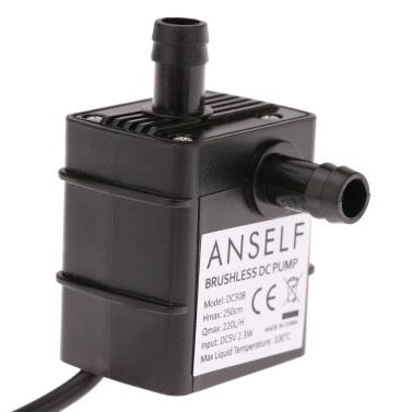 Anself Ultra-quiet Mini USB DC5V 2.3W Micro Brushless Water Oil Pump Waterproof Submersible Fountain Aquarium Circulating 220L/H Lift 250cm