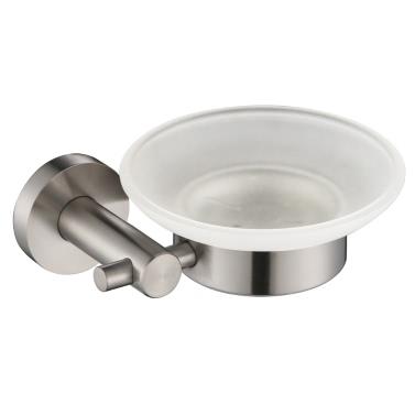 Homgeek Hochwertige Wand-Edelstahl-Seifenschale Halter Gestell mit Mattglas-Platten-Fall Badezimmer Produkt Küche