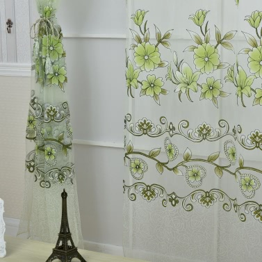 Anself 2PCS 100*200cm Elegant Voile Curtains Drape Offset Print Flower Pattern Tulle Sheer Curtain Door Window Screening for Bedroom Living Room Balcony Hotel Decoration