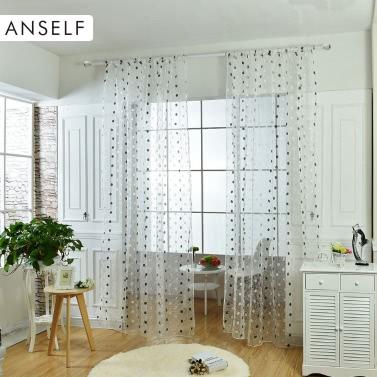Anself 2ST 200 * 250cm eleganter Voile Vorhänge drapieren besticktem Tüll bloßen Vorhang Panel-Tür-Fenster-Screening für Schlafzimmer Wohnzimmer Balkon Dekoration