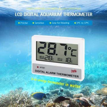 LCD Digital Fish Tank Aquarium Thermometer Water Temperature Meter °C/°F High/Low Temperature Alarm