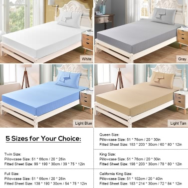 """Well-made Soft Cotton Bedding Sheet Set with Pillow Case and Fitted Sheet 12"""" Deep Pocket Fitted Sheet"""