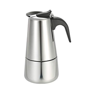 100ml 2-Cup Edelstahl Espresso Percolator Kaffee Herd Hersteller Mokka Topf für den Einsatz auf Gas oder Elektroherd