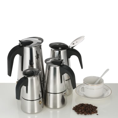 300ml 6-Cup Edelstahl Espresso Percolator Kaffee Herd Hersteller Mokka Topf für den Einsatz auf Gas oder Elektroherd