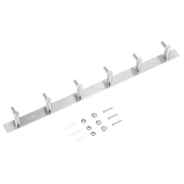 Multi-purpose 304 Stainless Steel Hook Rack Towel Rack Hanger Storage Organizer Kitchen Bathroom 6 Hooks