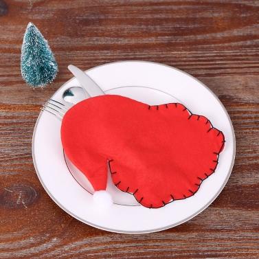 4pcs / set Weihnachtsmann-Weihnachtsbesteck-Halter-Gabel-Messer-Löffel-Beutel Pocekts gesetztes Weihnachtsdekor-Verzierungen
