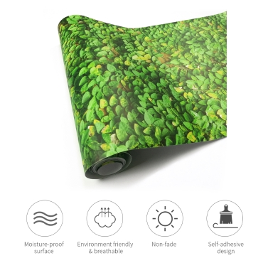 125 * 16 inches PVC Waterproof Self-adhesive 3D Wallpaper Roll Wall Floor Contact Paper Stickers Covering Decals Home Decor--Leaf