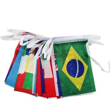 2018 World Crazy Cup String Nationalflagge Set von 32 Ländern Team Fahnen Banner Indoor & Outdoor Dekorationen Polyester Fußball Garten Party Decor