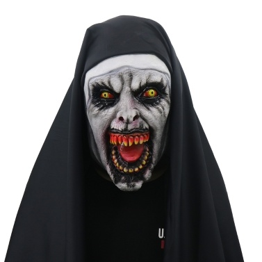 Devil Cosplay Nun Valak Mask with Hood Full Head Conjuring Scary Mask