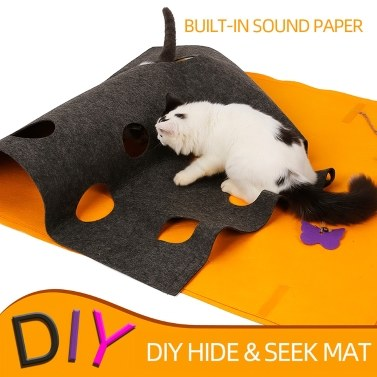 Cat Felt Play Mat DIY Hide and Seek Carpet with Holes Collapsible Scratch-Resistant for Cats