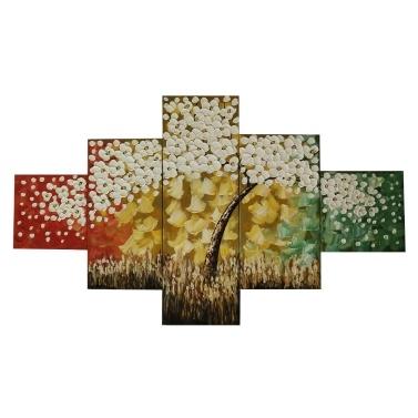 Goldener Baum 5 Stück Abstract Floral handgemalte Ölgemälde