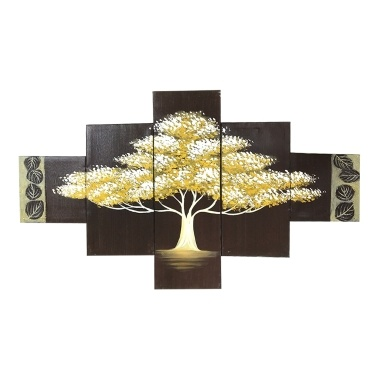 Golden Tree 5 Piece Abstract Floral Hand-Painted Oil Paintings