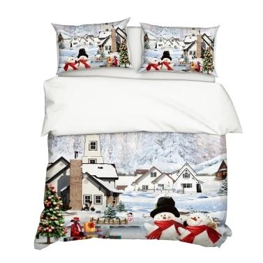 2Pcs/Set Christmas Style 3D Snowman Printed Pattern Duvet Cover