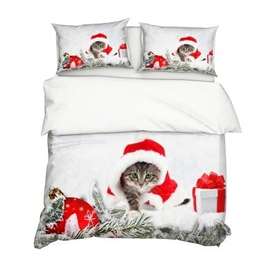 2Pcs/Set Christmas Style 3D Cat Printed Pattern Duvet Cover