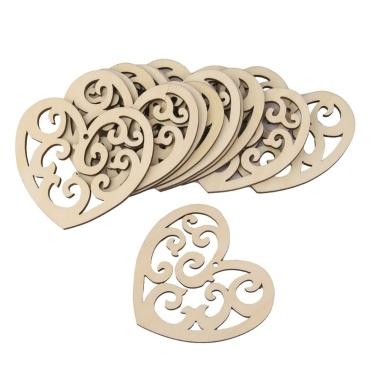 10pcs herzförmige Holzscheiben mit einem Loch hängen Ornamente Holz Handwerk Hochzeitsdekoration