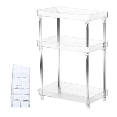 3 Tier Transparent Plastics Storage Organizer 3 Layers Makeup Storage Rack Holder
