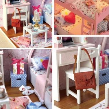 Holzpuppenhaus Miniaturen DIY House Kit Lustige Holz Puzzle Box mit Abdeckung, LED-Licht und Musik Bewegung, Home Decoration Kids Toy Geschenk