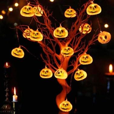 LED Halloween String Lights, 3DJack-O-Lantern Pumpkin Lights, 30LEDs, 10.33 Feet Solar Powered Orange Lights, Halloween Decorations for Halloween Party Harvest Thanksgiving Indoor Outdoor