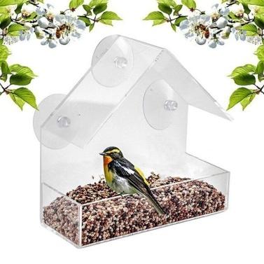 Bird Feeder Window Parrot Food Feeder Bird Feed Box