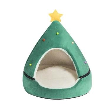 Cama redonda de pelúcia macia para animais de estimação de Natal