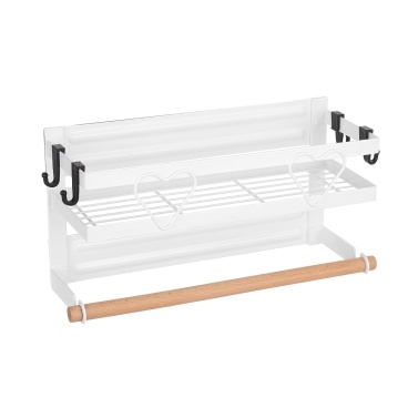 Refrigerator Magnetic Spice Rack Steel Frame Organizer Spice Storage Shelf Magnetic Fridge Rack Kitchen Magnet Organizer Seasoning Bottle Holder with Towel Bar and Hooks
