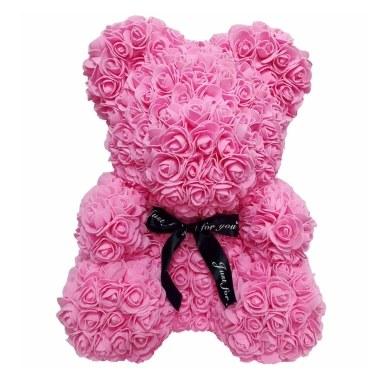 Rose Teddy Bear 10 Inches Tall Flower Bear