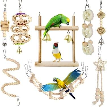 8 pezzi di giocattoli da masticare per pappagalli