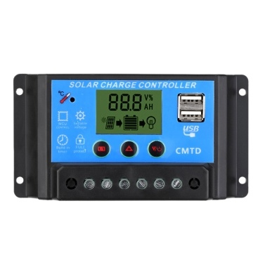 Anself 20A 12V/24V Solar Charge Controller with LCD Display Auto Regulator Timer Solar Panel Battery Lamp LED Lighting Overload Protection
