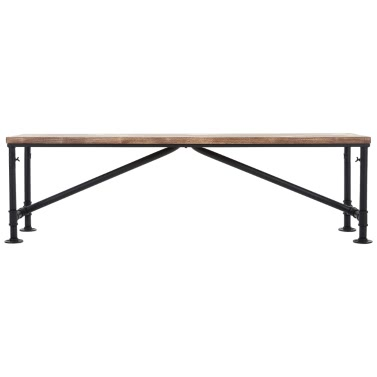 """iKayaa Antique Natural Pinewood Top Kitchen Dining Table Bench Chair Metal Frame Patio Outdoor Bench 63*13.7*17.7"""" (L*W*H)"""