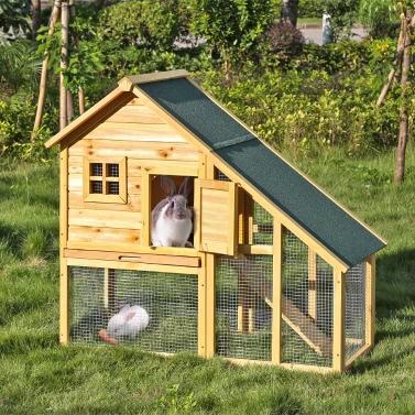 """ikayaa 55 """"Große im Freien hölzerne Chicken Coop Wasserdicht Massivholz-Kaninchenstall mit Run Hinterhof-Hühnerstall Pet Geflügel Cage"""