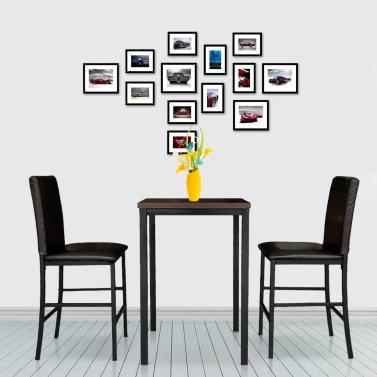 IKayaa moderne 3PCS Pub Bar Tisch mit 2 Stühlen Indoor Bistro Set Küche Frühstück Tisch Set 120KG Kapazität