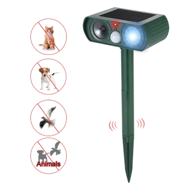 Solar Powered Ultrasonic Pest Repeller Motion Activated Outdoor Animal Repellent for Repelling Animals Cats Dogs Birds Combine with Flashing Light