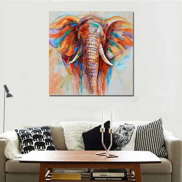 50 * 50cm HD Printed Frameless Elephant Head Canvas Painting Wall Art Pictures Decor for Home Living Room Bedroom