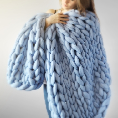 Chunky Knitted Handmade Thick Blanket,limited offer $22.99