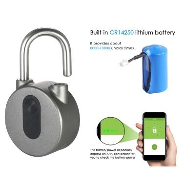 BT Smart Keyless Lock Waterproof APP Button / Fingerprint / Password Unlock Anti-Theft Padlock Door Luggage Case Locker Lock for Android iOS System