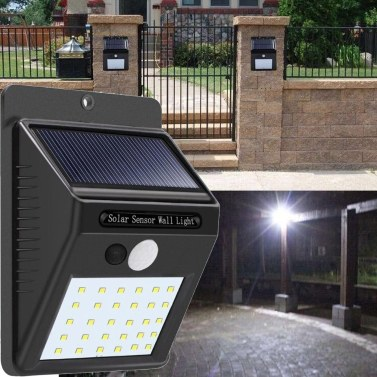 30 LED Solarbetriebene Wandleuchte Bewegungssensor