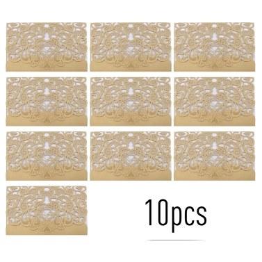 10pcs Liebes-Muster-Perlen-Papierblumeneinladungs-Karten-Einladungs-Halter