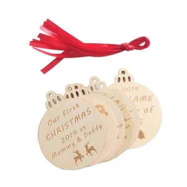 Holz Handwerk Weihnachtsbaum hängen Anhänger Ornamente Party Decor Glühbirne Form
